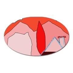 Red landscape Oval Magnet