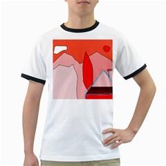 Red landscape Ringer T-Shirts
