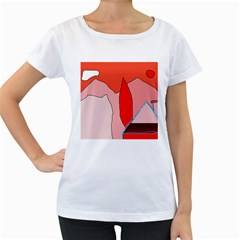 Red landscape Women s Loose-Fit T-Shirt (White)