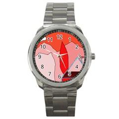 Red landscape Sport Metal Watch