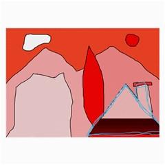 Red landscape Large Glasses Cloth (2-Side)