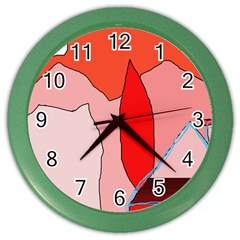 Red landscape Color Wall Clocks