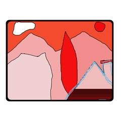 Red landscape Fleece Blanket (Small)