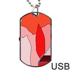 Red landscape Dog Tag USB Flash (One Side)