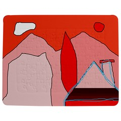 Red Landscape Jigsaw Puzzle Photo Stand (rectangular)