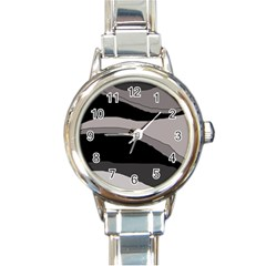 Black and gray design Round Italian Charm Watch