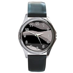 Black and gray design Round Metal Watch