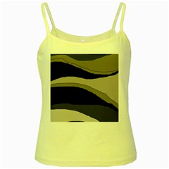 Black and gray design Yellow Spaghetti Tank