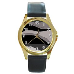Black and gray design Round Gold Metal Watch