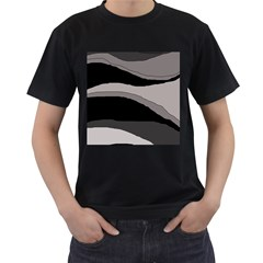 Black and gray design Men s T-Shirt (Black) (Two Sided)