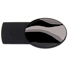 Black and gray design USB Flash Drive Oval (4 GB)