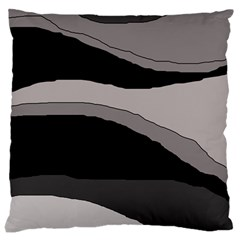 Black and gray design Large Cushion Case (One Side)
