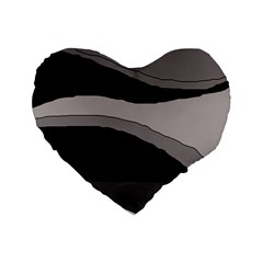 Black and gray design Standard 16  Premium Heart Shape Cushions