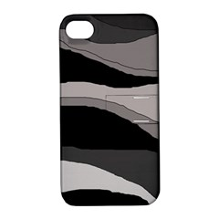 Black and gray design Apple iPhone 4/4S Hardshell Case with Stand