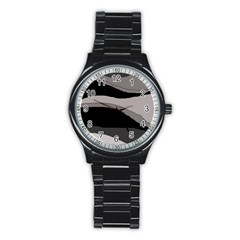 Black and gray design Stainless Steel Round Watch