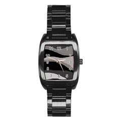 Black and gray design Stainless Steel Barrel Watch