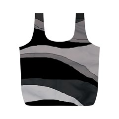 Black and gray design Full Print Recycle Bags (M)