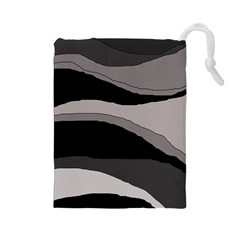Black and gray design Drawstring Pouches (Large)