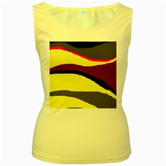 Decorative abstract design Women s Yellow Tank Top