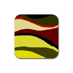 Decorative abstract design Rubber Square Coaster (4 pack)