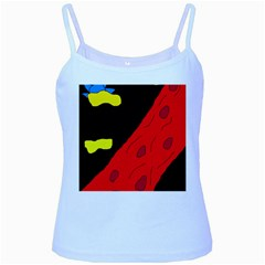 Red abstraction Baby Blue Spaghetti Tank