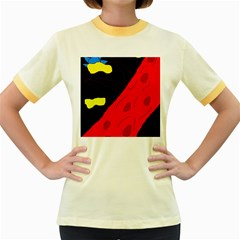 Red abstraction Women s Fitted Ringer T-Shirts