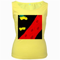 Red abstraction Women s Yellow Tank Top