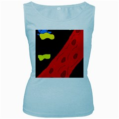 Red abstraction Women s Baby Blue Tank Top