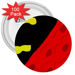 Red abstraction 3  Buttons (100 pack)