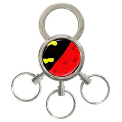 Red abstraction 3-Ring Key Chains