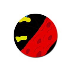 Red abstraction Rubber Round Coaster (4 pack)