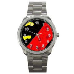 Red abstraction Sport Metal Watch