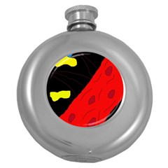 Red abstraction Round Hip Flask (5 oz)