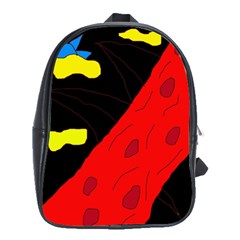 Red abstraction School Bags(Large)