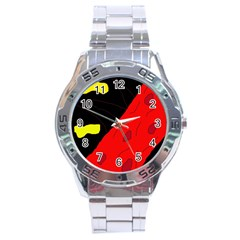 Red abstraction Stainless Steel Analogue Watch