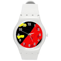 Red abstraction Round Plastic Sport Watch (M)