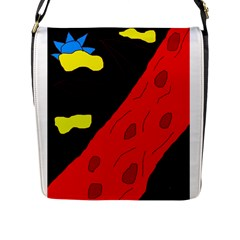 Red abstraction Flap Messenger Bag (L)