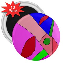 Pink abstraction 3  Magnets (10 pack)