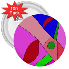 Pink abstraction 3  Buttons (100 pack)