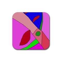 Pink abstraction Rubber Square Coaster (4 pack)