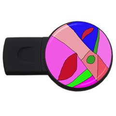 Pink abstraction USB Flash Drive Round (2 GB)