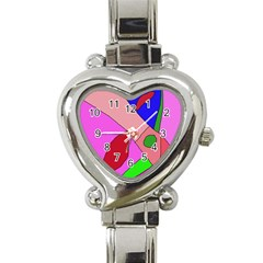 Pink abstraction Heart Italian Charm Watch