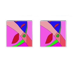 Pink abstraction Cufflinks (Square)