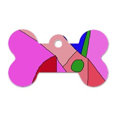 Pink abstraction Dog Tag Bone (One Side)