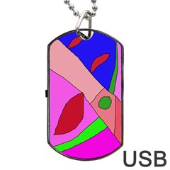 Pink abstraction Dog Tag USB Flash (One Side)