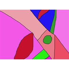 Pink abstraction Birthday Cake 3D Greeting Card (7x5)