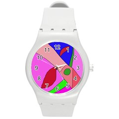 Pink abstraction Round Plastic Sport Watch (M)
