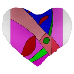 Pink abstraction Large 19  Premium Heart Shape Cushions