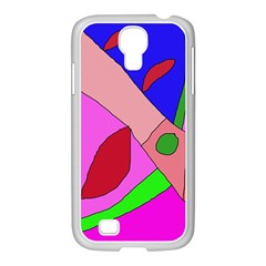 Pink abstraction Samsung GALAXY S4 I9500/ I9505 Case (White)