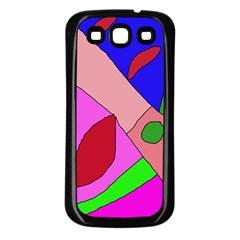 Pink abstraction Samsung Galaxy S3 Back Case (Black)